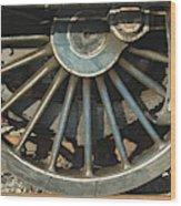 Detail Of Locomotive Wheel With Spokes Wood Print