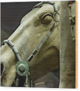 Details Of Head Of Horse From Terra Cotta Warriors, Xian, China Wood Print