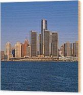 Detroit Buildings On The Water Wood Print
