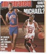 Detroit Pistons Joe Dumars, 1989 Nba Basketball Preview Sports Illustrated Cover Wood Print