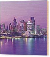 Detroit Under Purple Sky Wood Print