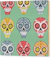 Dia De Muertos Skulls Wood Print