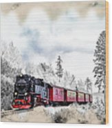 Diesel Powered Passenger Train Wood Print
