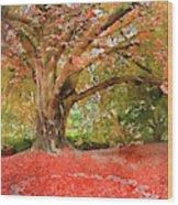 Digital Watercolor Painting Of Beautiful Autumn Fall Nature Fair Wood Print