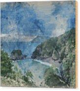 Digital Watercolor Painting Of Beautiful Dramatic Sunrise Landsa Wood Print