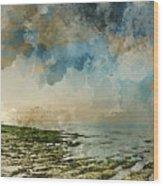 Digital Watercolor Painting Of Beautiful Landscape Panorama Suns Wood Print