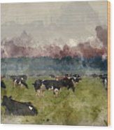 Digital Watercolor Painting Of Cattle In Field During Misty Sunr Wood Print
