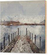 Digital Watercolor Painting Of Landscape Image Of Derwent Water  Wood Print