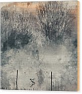 Digital Watercolor Painting Of Panorama Landscape Of Lake In Mis Wood Print
