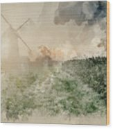 Digital Watercolor Painting Of Windmill In Stunning Landscape On Wood Print