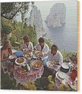 Dining Al Fresco On Capri Wood Print