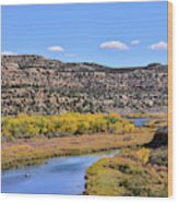 Distant Boat On The San Juan River In Fall Wood Print