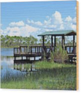 Dock On The River Wood Print