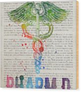 Doctor Of Pharmacy Gift Idea With Caduceus Illustration 03 Wood Print
