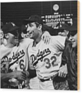 Dodgers Congratulating Sandy Koufax Wood Print