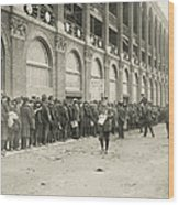 Dodgers Fans In Line At Ebbets Field Wood Print