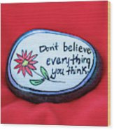 Don't Believe Everything You Think Painted Rock Wood Print