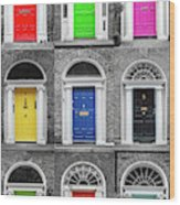 Doors Of Dublin - Vertical Wood Print