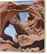 Double Arch In Utah Park During Summer Time  Wood Print