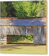 Double Crib Barn In Cades Cove In Smoky Mountains National Park Wood Print