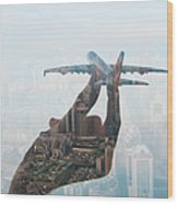 Double Exposure Of Hand Holding Model Wood Print