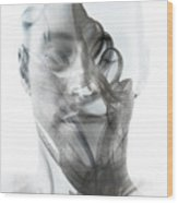 Double Exposure Portrait Of A Sexy Man Wood Print