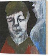 Double Portrait On Black Wood Print