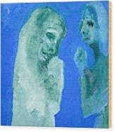 Double Portrait On Blue Sky Wood Print