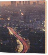 Downtown Los Angeles Skyline At Wood Print