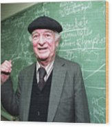 Dr. Linus Pauling At The Chalk Board Wood Print