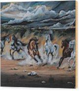 Dream Horse Series 125 - Flat Bottom River Wild Horse Herd Wood Print