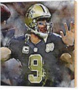 Drew Brees Wood Print