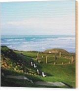 Droskyn Sundial Perranporth Wood Print