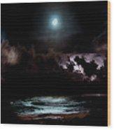Drummer's Moon Wood Print