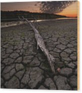 Dry Banks Of Rainy River After Sunset Wood Print
