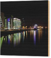 Dublin City Along Quays Wood Print