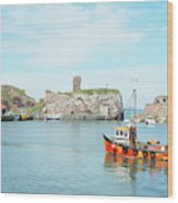 Dunbar Castle Ruins, Harbour And Fishing Boats Wood Print