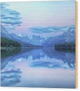 Dusk On Maligne Lake Wood Print