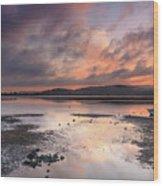 Dusky Pink Sunrise Bay Waterscape Wood Print
