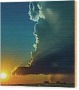 Dying Nebraska Thunderstorms At Sunset 068 Wood Print