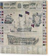 Early 18th Century British Man Of War Ship Diagram Wood Print
