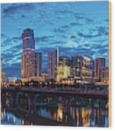 Early Morning Panorama Of Downtown Austin From South Lamar Bridge Over Lady Bird Lake - Austin Texas Wood Print