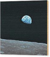 Earth And Lunar Landscape Wood Print