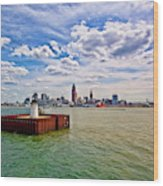 East Pierhead Lighthouse View Of Cleveland Wood Print
