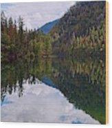 Echo Lake Early Autumn Reflection Wood Print