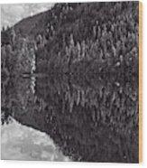 Echo Lake Reflection Black And White Wood Print