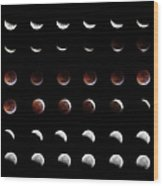 Eclipse, In All Phases Of The Moon Wood Print