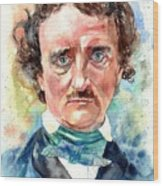 Edgar Allan Poe Portrait Wood Print