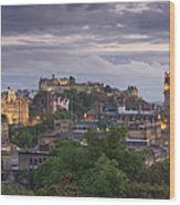 Edinburgh At Dusk Wood Print