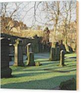 Edinburgh Castle From Blackfriars In Winter Wood Print